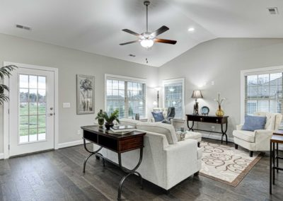 Living Room with Vaulted Ceiling